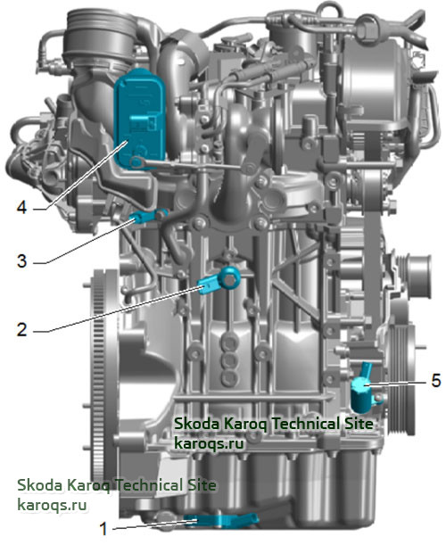 Installation overview - engine 1,0 TSI from rear