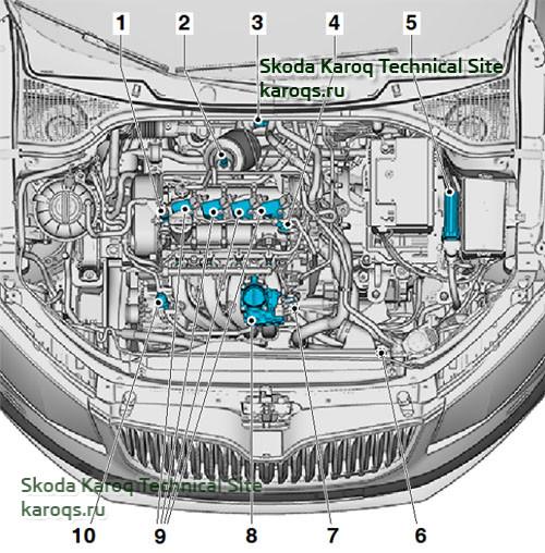 Бензиновый двигатель 1,6 MPI - расположение датчиков и компонентов