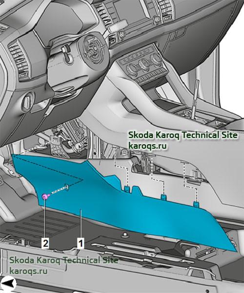 Снятие и установка облицовки центральной консоли в Шкода Карок