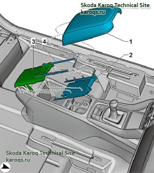 Снятие и установка верхней части подлокотника Шкода Карок