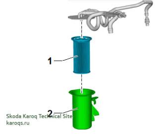Замена топливного фильтра на дизельном двигателе Шкода Карок