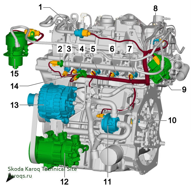 1.5 l petrol engine, DADA, from the front