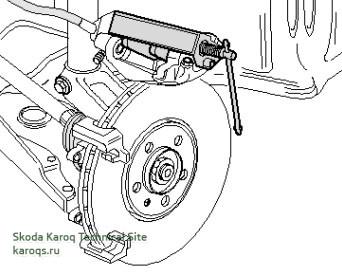 Вдавите поршень в тормозной суппорт с помощью приспособления T10145