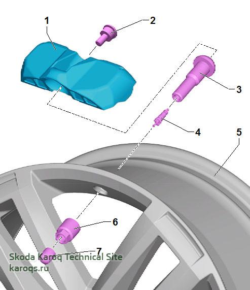 Детали и узлы датчика давления в шине, вариант 2