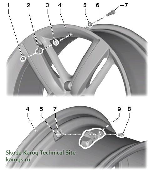 Детали и узлы датчика давления в шине, вариант 1